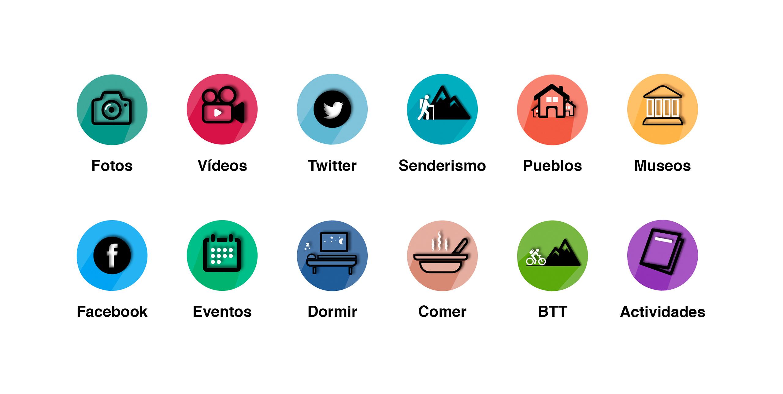 diseño de iconos para app de turismo para el valle del jerte