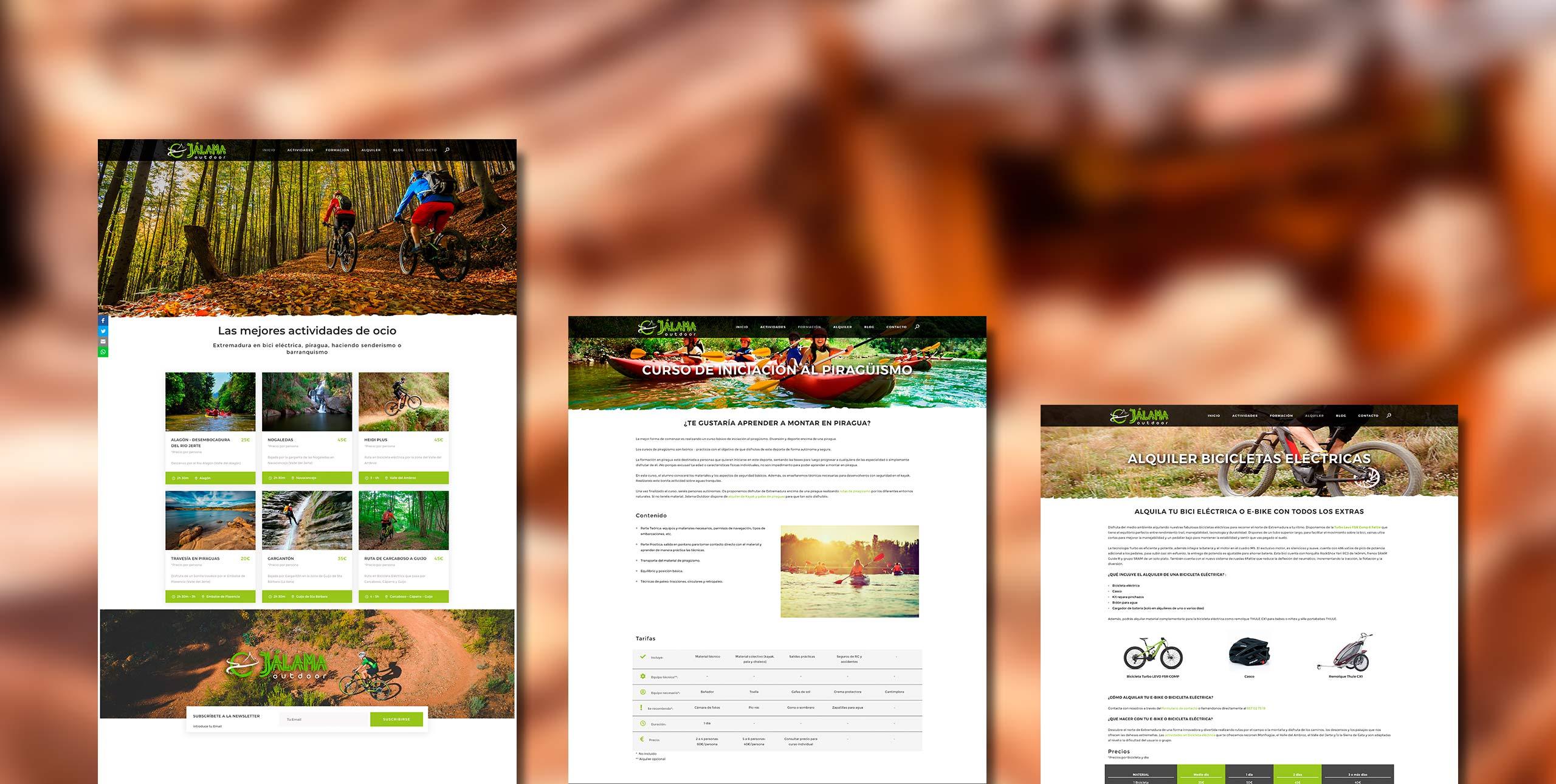 ejemplo web de actividades de aventura campaña posicionamiento SEO